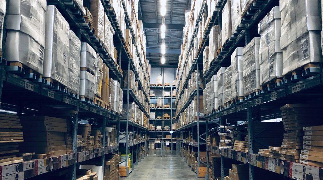 Warehouse full of shelves of packages