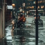 Food delivery courier riding a bike in the rain